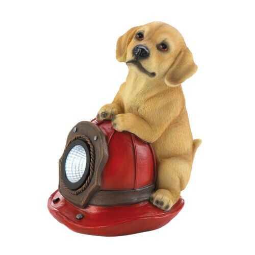 Dog Fire Helmet Solar Statue