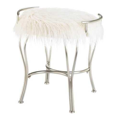 White Faux Fur Vanity Stool