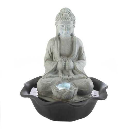Buddha On Lotus Tabletop Fountain
