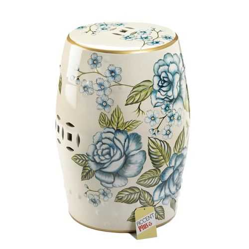 Antique Floral Garden Stool