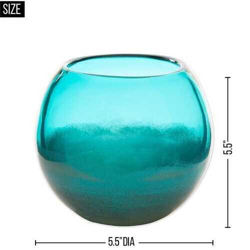 Small Aqua Fish Bowl Vase