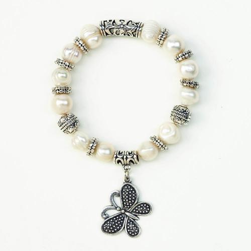 Butterfly Charm Pearl Bracelet