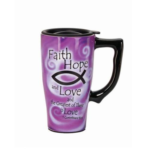 Faith Hope And Love Travel Mug