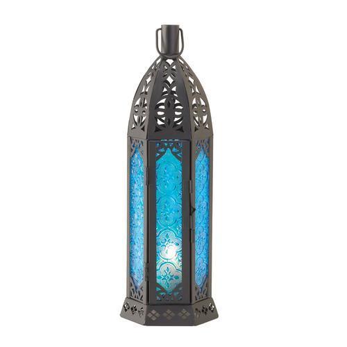 Blue Floret Candle Lantern