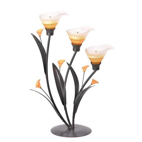 Amber Lilies Tealight Holder
