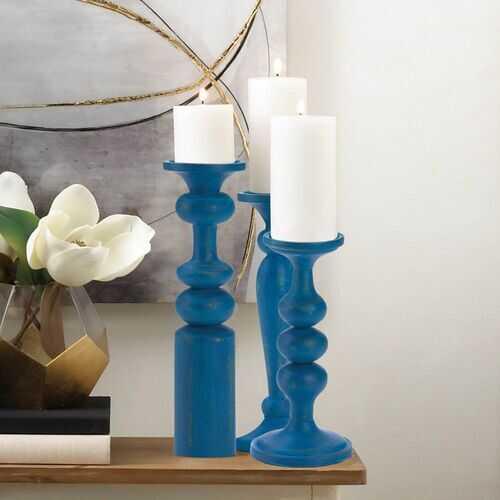 Cadiz Blue Artisan Candle Holder