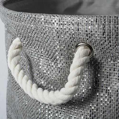 Paper Bin Lurex Gray/Silver Round Small 13.75X13.75X12