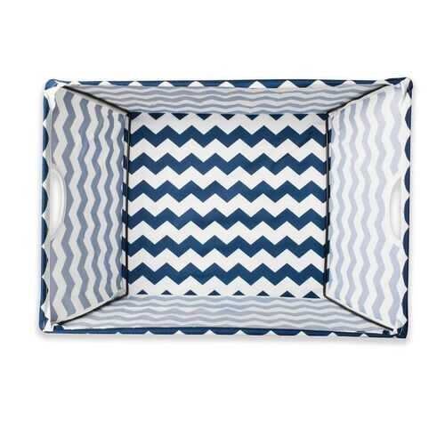 Polyester Bin Chevron Nautical Blue Trapezoid Medium 16X12X10