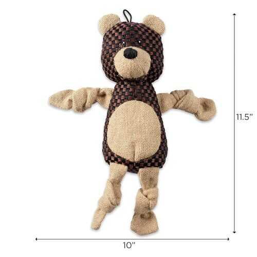 Bear With Squeaker Burlap Pet Toy