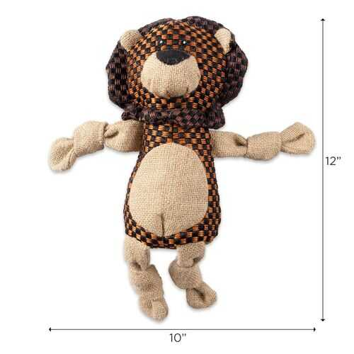 Lion With Squeaker Burlap Pet Toy