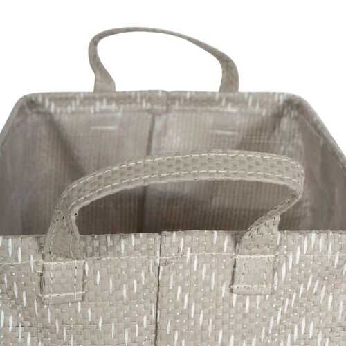 PE Coated Woven Paper Laundry Bin Tribal Chevron Stone/Cream Rectangle Large 16X12.5X9.5 Set/2