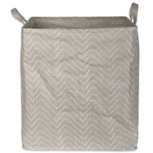 PE Coated Woven Paper Laundry Hamper Tribal Chevron Stone/Cream Rectangular 16X16X19