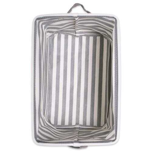 PE Coated Herringbone Woven Cotton Laundry Bin Stripe Gray Rectangle Medium 14X9X8 Set/2