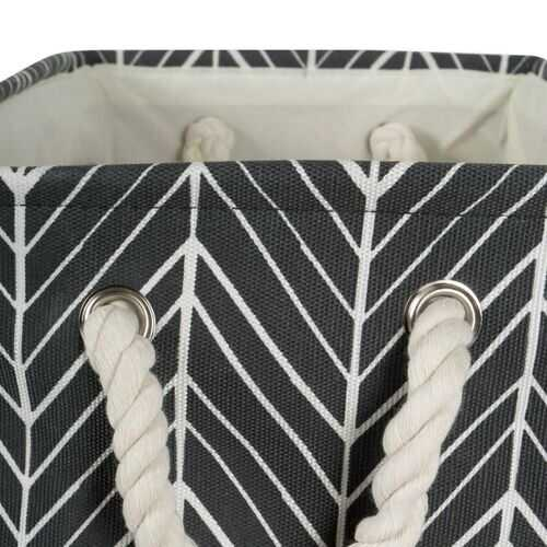 Polyester Bin Herringbone Black Round Medium 12X15X15