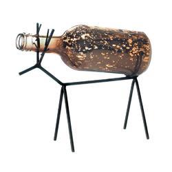 Glass Bottle Reindeer Lantern
