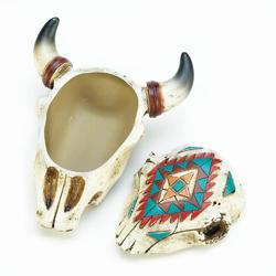 Aztec Ox Skull Trinket Box