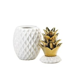 """13"""" Gold Topped Pineapple Jar"""