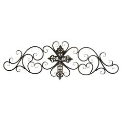 Category: Dropship Religious & Inspiration, SKU #10018766, Title: Cross Scrollwork Wall Plaque