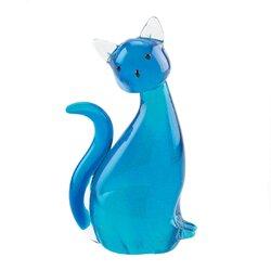 Blue Kitty Cat Art Glass