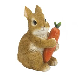 Bunny Hugging Carrot Garden Figurine