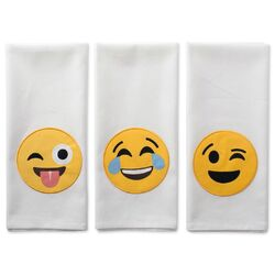 Laughing Emoji Embellished Dishtowels Set/3