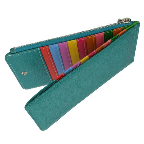 Multi Card Organizer Wallet with Zipper Pocket-Blue Color