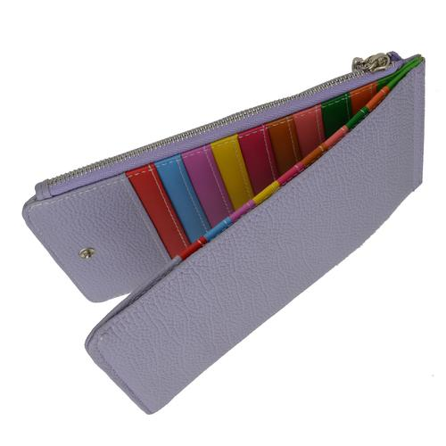 Multi Card Organizer Wallet with Zipper Pocket-Purple Color