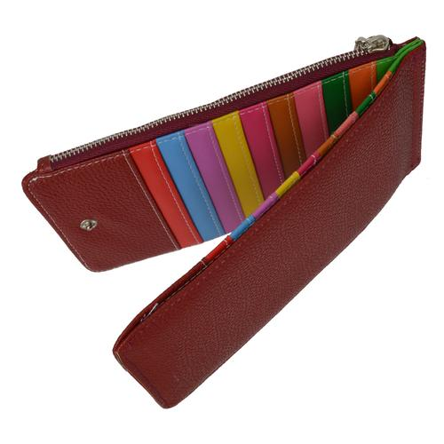 Multi Card Organizer Wallet with Zipper Pocket-Red Color