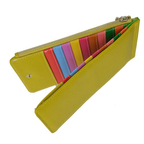 Multi Card Organizer Wallet with Zipper Pocket-Yellow Color