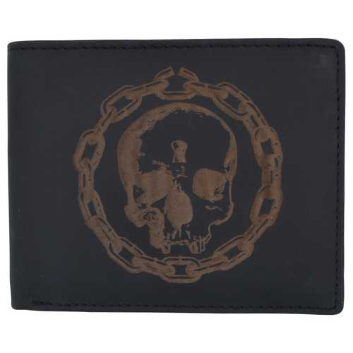 Men Rustic Skull Wallet w/ RFID Protection