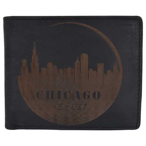 Men Rustic Chicago Stamped Wallet w/ RFID Technology