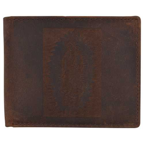 Men Rustic Guadalupe Virgin Stamped Wallet w/ RFID Protection