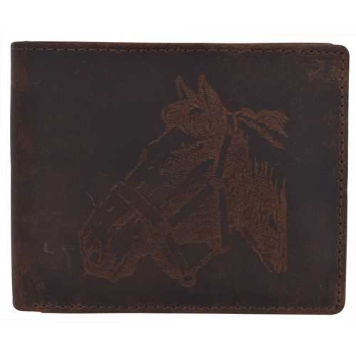 Men Rustic Horse Design Wallet w/ RFID Protection