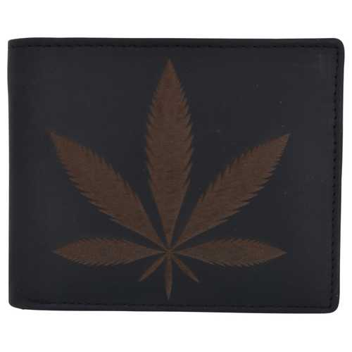 Men Marijuana Leaf Stamped Wallet w/ RFID Technology
