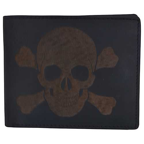 Men Skull Stamped Wallet w/ RFID Technology