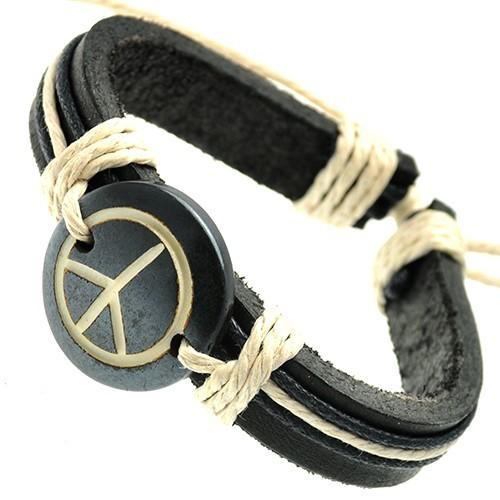 Unisex Leather Bracelet with Peace Sign