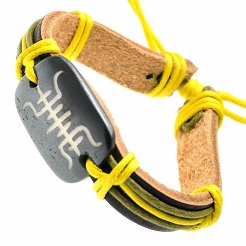Leather Bracelet with Yellow Cords and Tribal Design on Bone ID