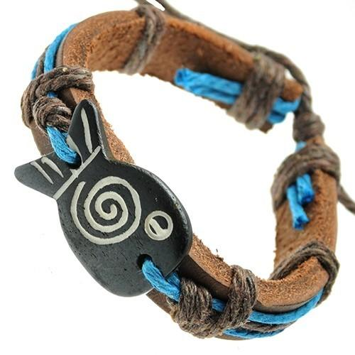 Blue String and Bone Fish ID Leather Bracelet