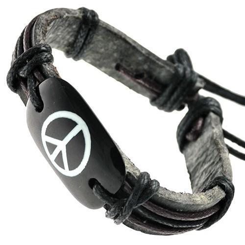 Peace Sign on Bone ID Leather Bracelet