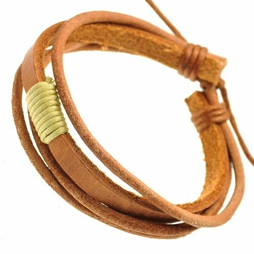 Adjustable Leather Bracelet with Cream cord