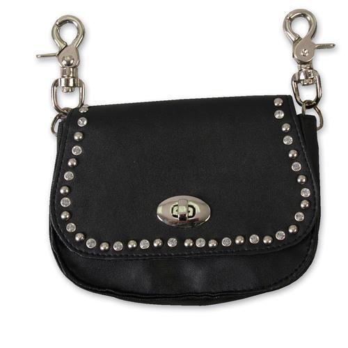 Black Leather Stud & Rhinestone Clip Pouch w/Detachable Strap