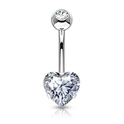 Heart CZ Prong Belly Button Ring