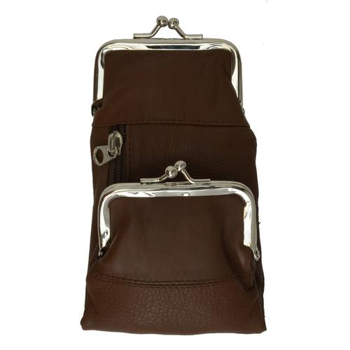 AFONiE-Kisslock Leather Coins Wallet Brown Color