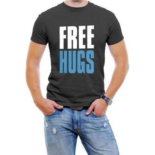 FREE HUGS Mens T-shirt, Big and Bold Funny Statements Tee Shirt,