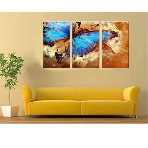 Butterfly World Wall Decor Oil Paintings On Canvas Various Abstract Designs 3 Panels