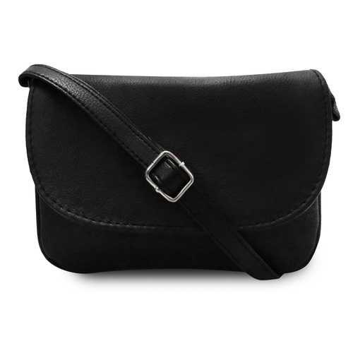 Black Accordion Leather Messenger Bag