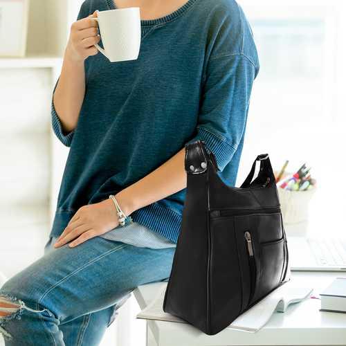 Leather Sleek Multi Pockets Shouler Handbag-Assort Colors