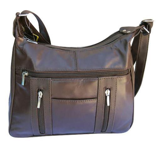 AFONiE-Brown Leather Shoulder Bag