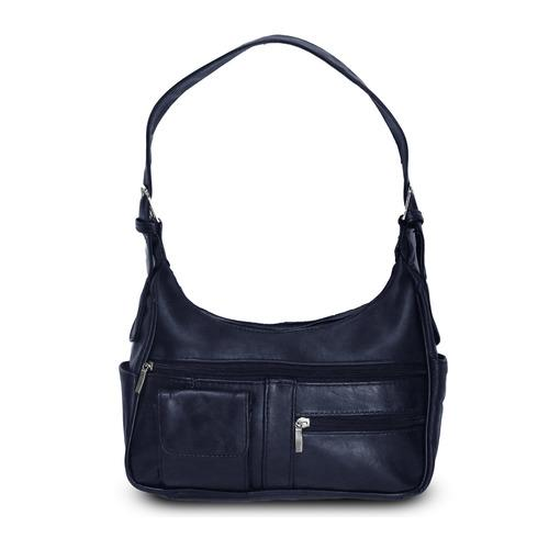 AFONiE- Timeless Shoulder Leather Handbag-Navy Blue