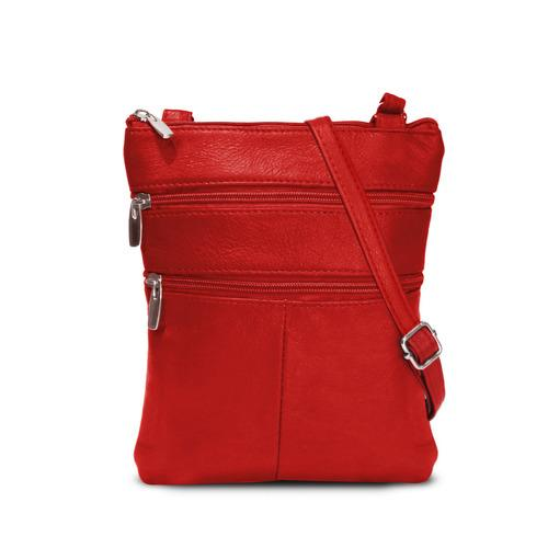 AFONiE- Flat Two Sides Leather Cross Body Bag